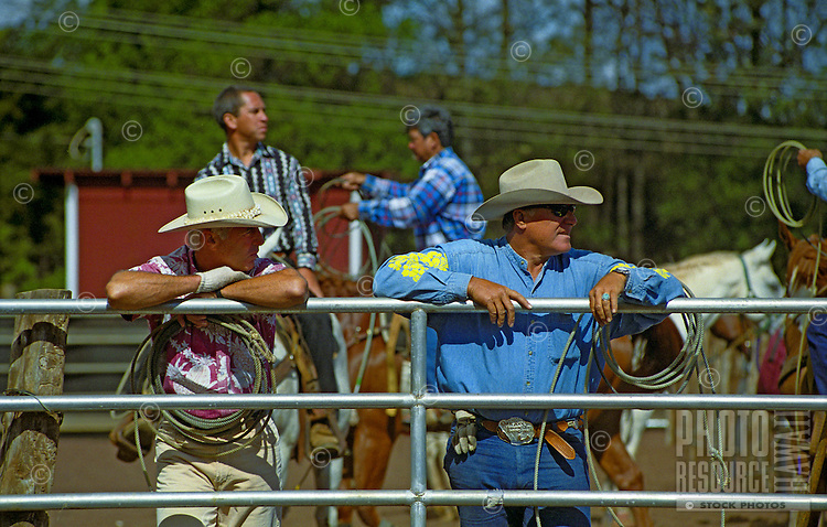 Two competitors watch and wait for their turn in an upcountry roping competition. Hawaii had its first cowboys (paniolo in Hawaiian) dating back to 1802.