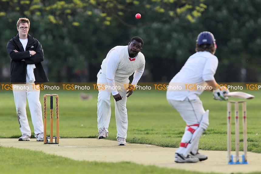 Contenders CC (fielding) vs Old Ranwellians CC - Victoria Park Community Cricket League at Victoria Park, London - 08/05/12 - MANDATORY CREDIT: Gavin Ellis/TGSPHOTO - Self billing applies where appropriate - 0845 094 6026 - contact@tgsphoto.co.uk - NO UNPAID USE.