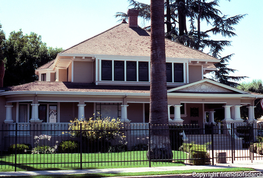 Visalia CA: House at 631 N. Encina (Spalding House B & B). Early 20th century--modified Prairie Style, a corner house.