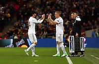 Pictured: (L-R) Ki Sung-Yueng, Garry Monk. Sunday 24 February 2013<br /> Re: Capital One Cup football final, Swansea v Bradford at the Wembley Stadium in London.