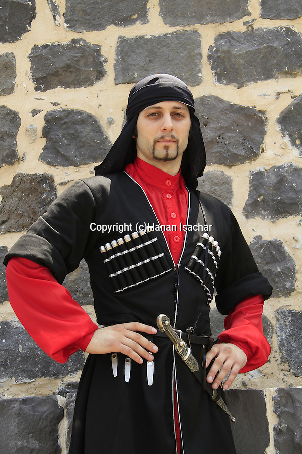 Israel, Lower Galilee, Circassian man in traditional clothing at Kfar Kama