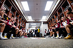 SIOUX FALLS, SD - MARCH 24: Northern State University players sit in the listen to pregame matchups prior to the Division II Men's Basketball Championship held at the Sanford Pentagon on March 24, 2018 in Sioux Falls, South Dakota. Ferris State University defeated Northern State University 71-69. (Photo by Tim Nwachukwu/NCAA Photos via Getty Images)