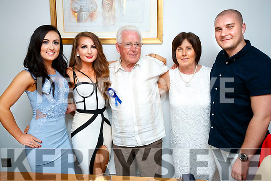 John Heaslip O'Rahilly's villas, Tralee, who celebrated his 80th Birthday at Bella Bia on Saturday evening, from left: Rachel Daly, Natelie Daly, John Heaslip, Marian Daly and Daniel Van Dyke.