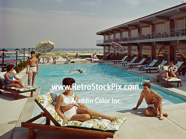 Cara Mara Motel Wildwood, NJ. Woman lounging by the pool.