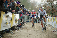 Sven Nys (BEL) was followed closely by Lars van der Haar (NLD) during the whole race<br /> <br /> Vlaamse Druivencross Overijse 2013