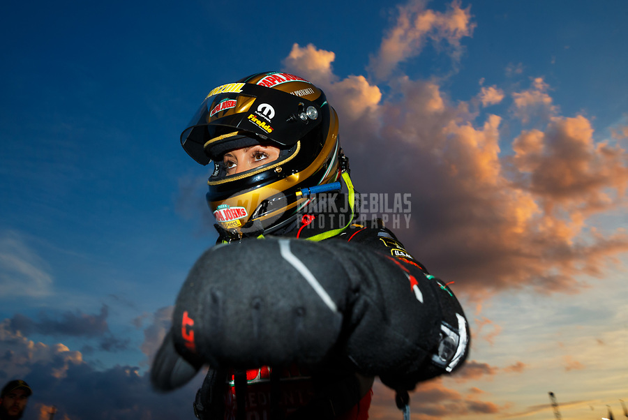 Jun 16, 2017; Bristol, TN, USA; NHRA top fuel driver Leah Pritchett during qualifying for the Thunder Valley Nationals at Bristol Dragway. Mandatory Credit: Mark J. Rebilas-USA TODAY Sports