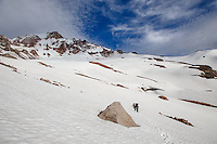 Traversing across Sandy Glacier towards the Snow Dragon and Pure Imagination caves on Mt Hood.