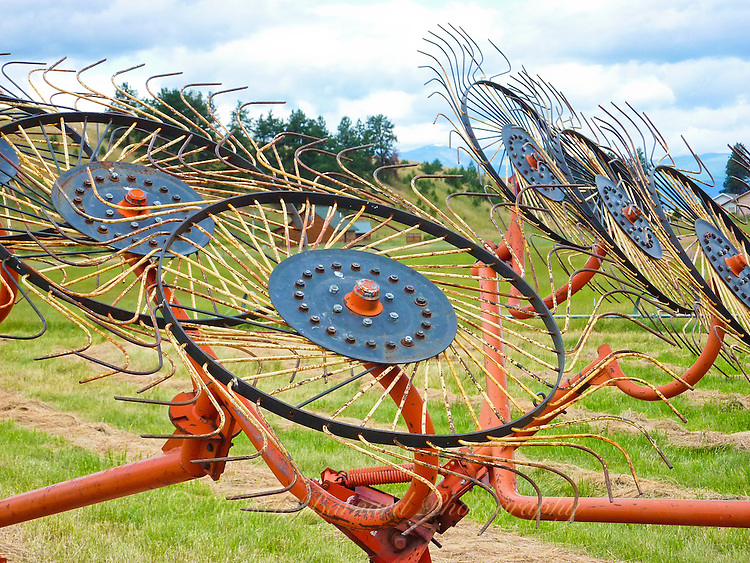 Hay rake in a hay field in Montana