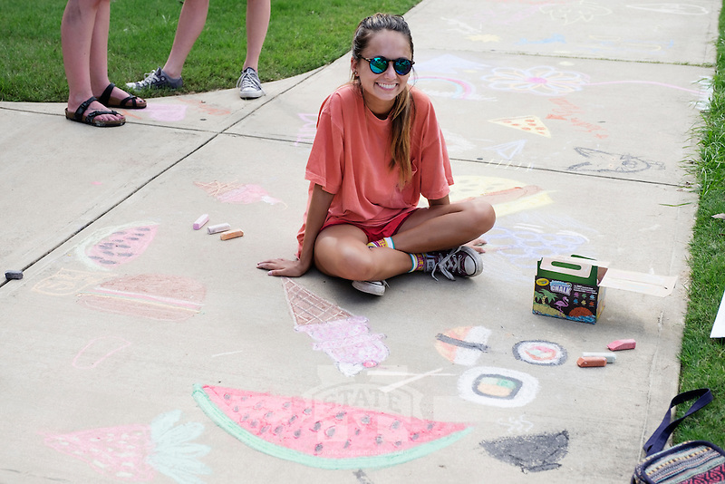 MSU Dawg Daze 2016: The Great Chalk Walk hosted by the Art Department on the sidewalk outside the Visual Arts Center Gallery.<br />  (photo by Megan Bean / &copy; Mississippi State University)