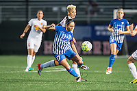 Allston, MA - Wednesday Sept. 07, 2016: Kyah Simon, Lianne Sanderson during a regular season National Women's Soccer League (NWSL) match between the Boston Breakers and the Western New York Flash at Jordan Field.
