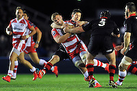 Ross Moriarty of Gloucester Rugby takes on the Edinburgh defence. European Rugby Challenge Cup Final, between Edinburgh Rugby and Gloucester Rugby on May 1, 2015 at the Twickenham Stoop in London, England. Photo by: Patrick Khachfe / Onside Images