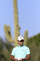 Si Woo Kim (KOR) on the 2nd green during Saturday's Round 3 of the Waste Management Phoenix Open 2018 held on the TPC Scottsdale Stadium Course, Scottsdale, Arizona, USA. 3rd February 2018.<br /> Picture: Eoin Clarke | Golffile<br /> <br /> <br /> All photos usage must carry mandatory copyright credit (&copy; Golffile | Eoin Clarke)