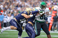 Annapolis, MD - October 26, 2019: Tulane Green Wave tight end Tyrick James (80) gets tackled by several Navy Midshipmen defenders during the game between Tulane and Navy at  Navy-Marine Corps Memorial Stadium in Annapolis, MD.   (Photo by Elliott Brown/Media Images International)