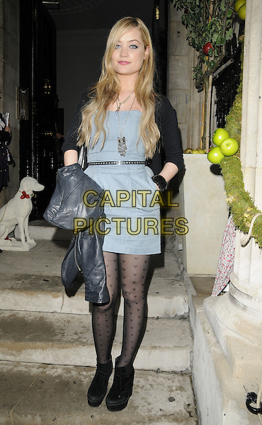 "LAURA WHITMORE.""Jacques Townhouse cider brand pop up boutique launch party"", Chandos  House, London, England..July 19th, 2011.full length black cardigan tights ankle boots blue grey gray dress belt pattern hand in pocket.CAP/CAN.©Can Nguyen/Capital Pictures."