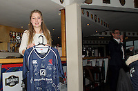 Winner of the signed shirt in the raffle during the Pre-match hospitality ahead of the Greene King IPA Championship match between London Scottish Football Club and Ealing Trailfinders at Richmond Athletic Ground, Richmond, United Kingdom on 26 December 2015. Photo by Alan  Stanford / PRiME Media Images