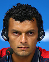 Michael Barrantes of Costa Rica speaks during the press conference ahead of tomorrow's fixture vs Greece