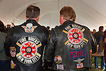 Fund raiser for firefighter Ray Pfeifer on Saturday, March 31, 2012, at East Meadow Firefighters Benevolent Hall, New York, USA. Steve Cycan (left) and Gary Sims (right) are members of NYC Fire Riders, the Fire Department Motorcycle Club NYC.