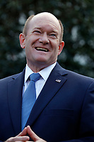United States Senator Chris Coons (Democrat of Delaware) addresses reporters outside the West Wing following a signing ceremony for Anti-Human Trafficking Legislation in the Oval Office of the White House, in Washington, D.C., January 9, 2019.<br /> CAP/MPI/RS<br /> &copy;RS/MPI/Capital Pictures