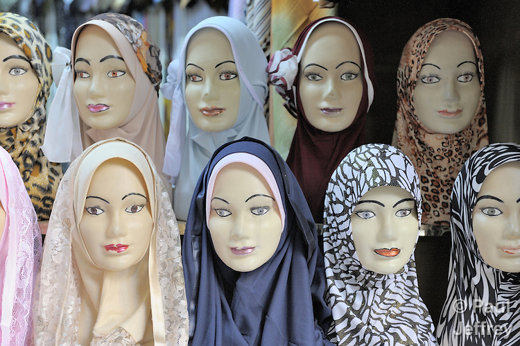 A store selling head scarves for Muslim women in the old city of Damascus, Syria.