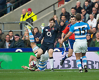 Twickenham, United Kingdom. Elliot DALY'S red card foul on Leonardo Senatore, during the Old Mutual Wealth Series Rest Match: England vs Argentina, at the RFU Stadium, Twickenham, England, <br />