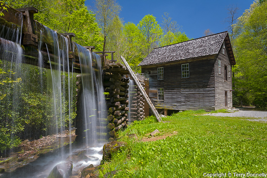 Great Smoky Mts. National Park, TN/NC<br /> Millrace with spilling water leading to Mingus mill (1886) near Oconaluftee