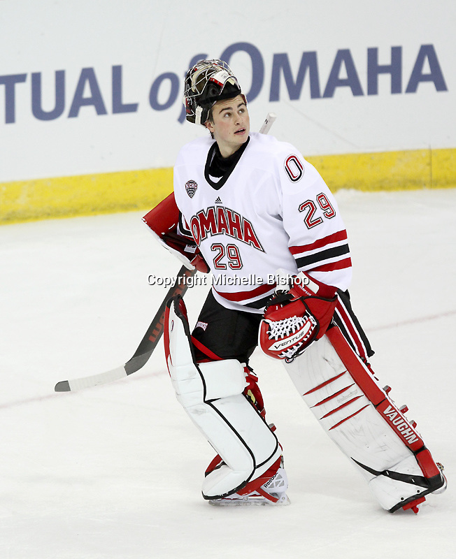 UNO's Kirk Thompson. Nebraska-Omaha beat the NAIT Ooks 6-1 at the CenturyLink Center in Omaha on Monday, October 7, 2013. (Photo by Michelle Bishop)