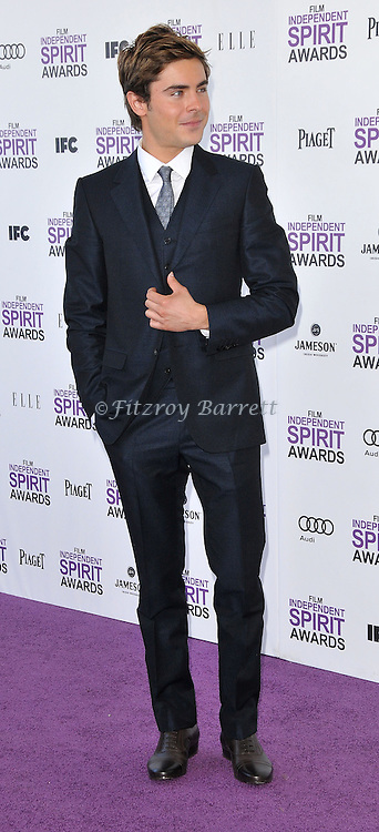 Zac Efron at the 2012 Film Independent Spirit Awards held at Santa Monica Beach, CA.. February 25, 2012