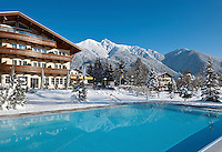 Austria, Tyrol, international Wintersport Resort Seefeld: Hotel Seespitz at idyllic Wild Lake, Wellness area