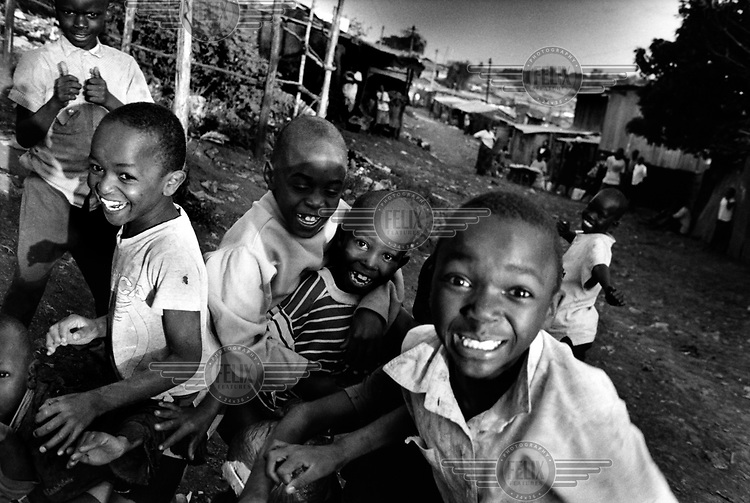 Children playing in the Kibera slum.