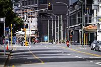 Corner of Taranaki Street and Wakefield Street at 1.20pm on Thursday. Wellington CBD during quarantine lockdown for COVID19 pandemic in Wellington, New Zealand on Thursday, 2 April 2020. Photo: Dave Lintott / lintottphoto.co.nz