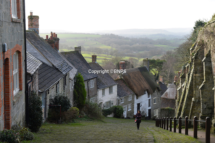 BNPS.co.uk (01202 558833)<br /> Pic: BNPS<br /> <br /> Pictured: The famous Gold Hill iin Shaftesbury pictured today.<br /> <br /> These charming photos reveal everyday life at the turn of the 20th century in a thriving market town later made famous by a TV advert.<br /> <br /> The black and white snapshots of Shaftesbury, Dorset, were taken by Albert Tyler who set up a photography business there in 1901.<br /> <br /> There are various street scenes and also images of the locals in traditional attire, with men in flatcaps and women in bonnets.<br /> <br /> Tyler photographed the busy opening of the town market in 1902, and a garden party where men played croquet.