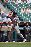 Lehigh Valley IronPigs Malquin Canelo (8) at bat during an International League game against the Buffalo Bisons on June 9, 2019 at Sahlen Field in Buffalo, New York.  Lehigh Valley defeated Buffalo 7-6 in 11 innings.  (Mike Janes/Four Seam Images)