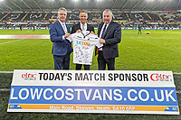 Lee Trundle with Low Cost Vans sponsors during the Premier League match between Swansea City and Liverpool at The Liberty Stadium, Swansea, Wales, UK. Monday 22 January 2018