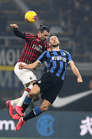9th February 2020, Milan, Italy; Serie A football, AC Milan versus Inter-Milan;  Zlatan Ibrahimovic challenges for the header with Milan Skriniar  of Inter