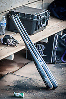Colorado Springs Sky Sox bats sit in the dugout during the Pacific League game against the Oklahoma City RedHawks at the Chickasaw Bricktown Ballpark on August 3, 2014 in Oklahoma City, Oklahoma.  The RedHawks defeated the Sky Sox 8-1.  (William Purnell/Four Seam Images)