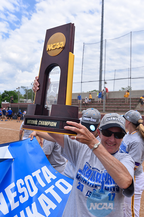 SALEM, VA - MAY 29:  Head Coach Lori Meyer of Minnesota State University celebrates after defeating Angelo State University during the Division II Women's Softball Championship held at Moyer Park on May 29, 2017 in Salem, Virginia. Minnesota State defeated Angelo State 5-1 to win the national championship. (Photo by Andres Alonso/NCAA Photos via Getty Images)
