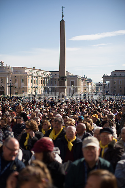 Pope Francis arrives for the General Audience  among pilgrims from all over the world that fill the Saint Peter square in the Vatican.tFrancis said during his regular weekly audience with pilgrims at the Vatican.<br /> In this audience the Pope criticized the dirty money donated to the Church by corrupt people
