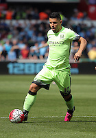 Sergio Aguero of Manchester City during the Swansea City FC v Manchester City Premier League game at the Liberty Stadium, Swansea, Wales, UK, Sunday 15 May 2016