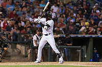 AFL West designated hitter Luis Robert (20), of the Glendale Desert Dogs and Chicago White Sox organization, at bat during the Arizona Fall League Fall Stars game at Surprise Stadium on November 3, 2018 in Surprise, Arizona. The AFL West defeated the AFL East 7-6 . (Zachary Lucy/Four Seam Images)