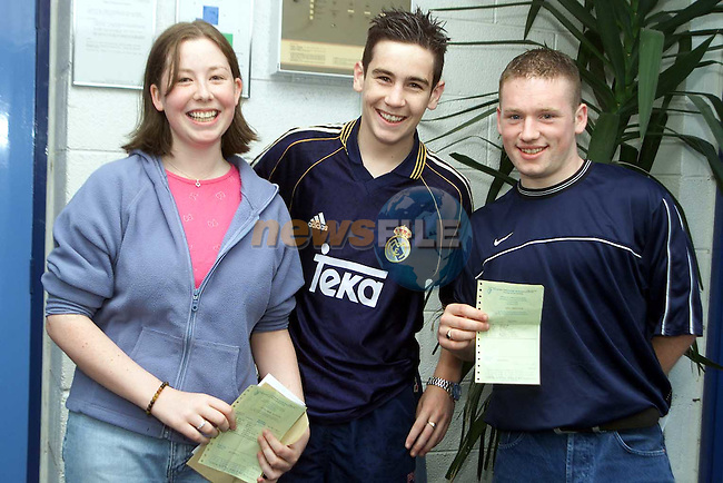 Julieanne McMahon, Ardee, Shane Grimes, Collon and Gary Monahan, collon all seemed happy with thier results when tey received them from Ardee Community School on Wednesday..Picture Paul Mohan Newsfile