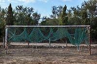 Spain. Balearic Islands. Minorca (Menorca). Football field near the capital city, Mahon. It is located on the eastern coast of the island, which is part of the autonomous community of the Balearic. In Spain, an autonomous community is a first-level political and administrative division, created in accordance with the Spanish constitution of 1978, with the aim of guaranteeing limited autonomy of the nationalities and regions that make up Spain. 9.09.2019 © 2019 Didier Ruef