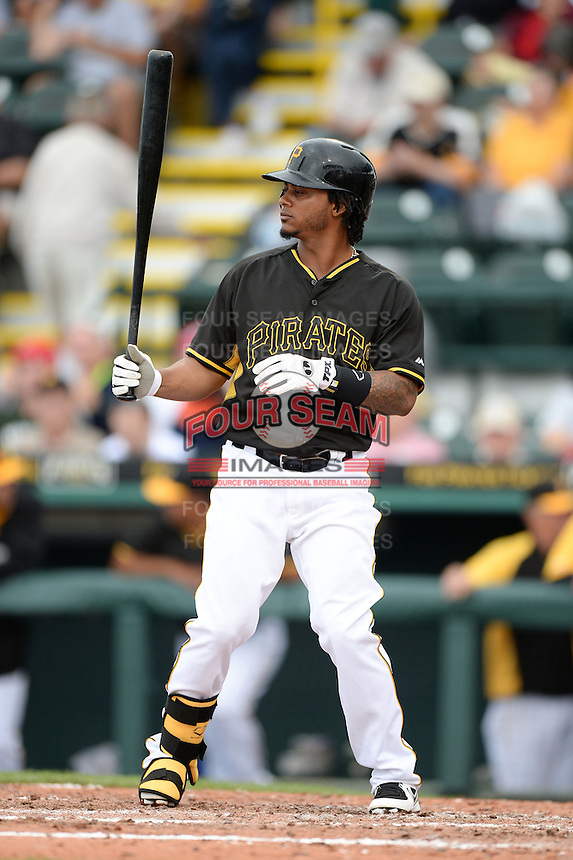 Infielder Michael Martinez (3) of the Pittsburgh Pirates during a spring training game against the New York Yankees on February 26, 2014 at McKechnie Field in Bradenton, Florida.  Pittsburgh defeated New York 6-5.  (Mike Janes/Four Seam Images)
