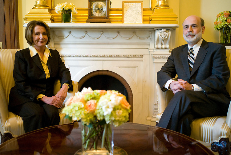 WASHINGTON, DC - Feb. 03: House Speaker Nancy Pelosi, D-Calif., and Federal Reserve Chairman Ben S. Bernanke during a photo op of their meeting in Pelosi's office.  (Photo by Scott J. Ferrell/Congressional Quarterly)