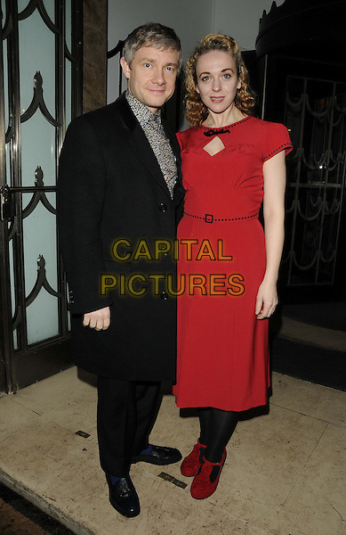 Martin Freeman & Amanda Abbington.attended the Radio Times Covers Party, Claridge's Hotel, London, England..January 29th, 2013.full length black coat red dress tights shoes couple grey gray pattern shirt .CAP/CAN.©Can Nguyen/Capital Pictures.