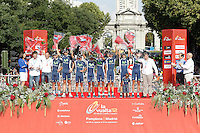Movistar Team celebrates the victory in the Overall Teams Standing of La Vuelta 2012.September 9,2012. (ALTERPHOTOS/Acero)