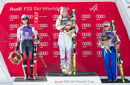 23.01.2016. Cortina d Ampezzo, Italy, FIS Womens World Cup Downhill Skiing.  Larisa Yurkiw (CAN, 2nd Place), Lindsey Vonn (USA, 1st Place), Lara Gut (SUI, 3rd Place)