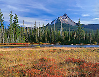 ORCAC_084 - USA, Oregon, Willamette National Forest, Mount Washington rises above conifer forest, small lake and autumn-colored huckleberry and willows.