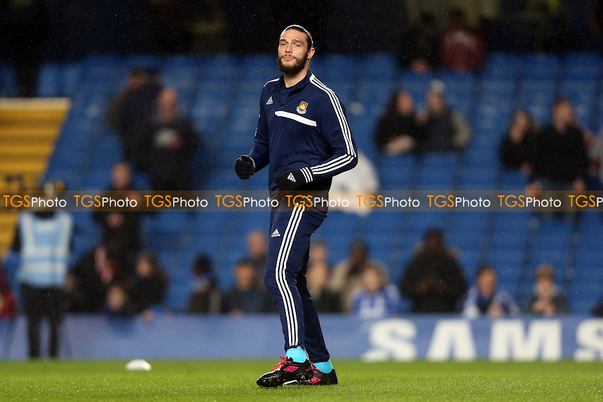 Andy Carroll of West Ham warms up - Chelsea v West Ham United, Barclays Premier League at Stamford Bridge, Chelsea - 29/01/14 - MANDATORY CREDIT: Rob Newell/TGSPHOTO - Self billing applies where appropriate - 0845 094 6026 - contact@tgsphoto.co.uk - NO UNPAID USE