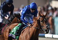 DEL MAR, CA - NOVEMBER 04: Wuheida #5, ridden by William Buick, wins the Breeders' Cup Filly and Mare Turf race on Day 2 of the 2017 Breeders' Cup World Championships at Del Mar Racing Club on November 4, 2017 in Del Mar, California. (Photo by John Durr/Eclipse Sportswire/Breeders Cup)