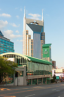 A view from Broadway of the AT&T Building and Nashville Convention Center in downtown Nashville, Tennessee.